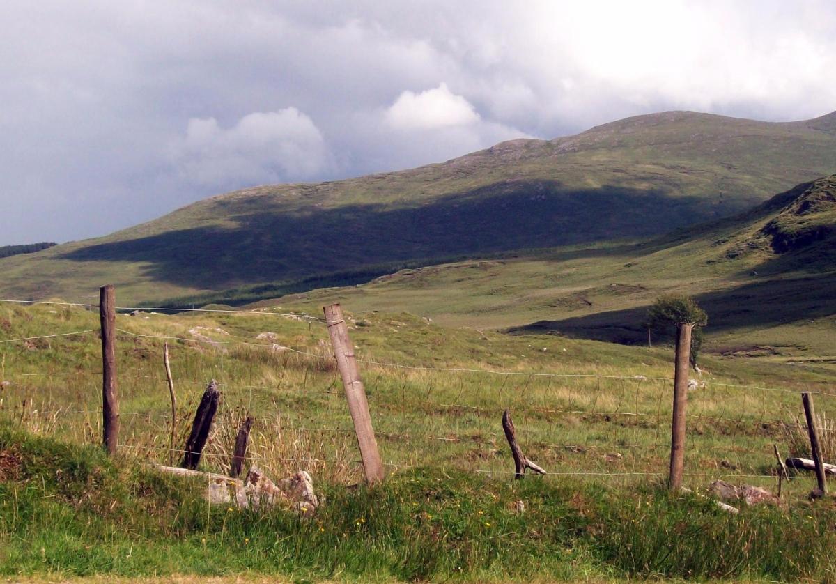 Roadside view in Glenfin, Co. Donegal, Ireland